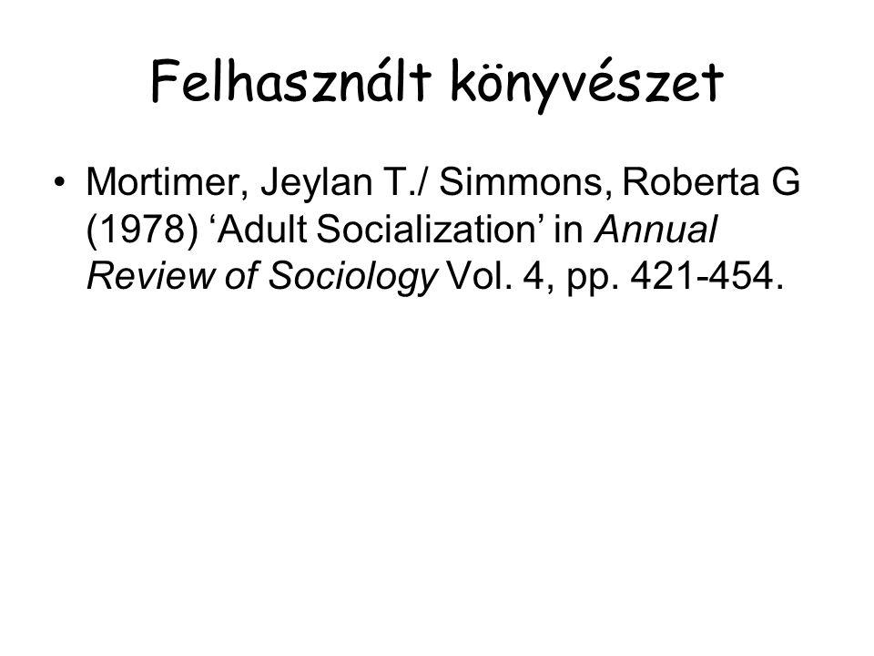 Felhasznált könyvészet Mortimer, Jeylan T./ Simmons, Roberta G (1978) 'Adult Socialization' in Annual Review of Sociology Vol. 4, pp. 421-454.