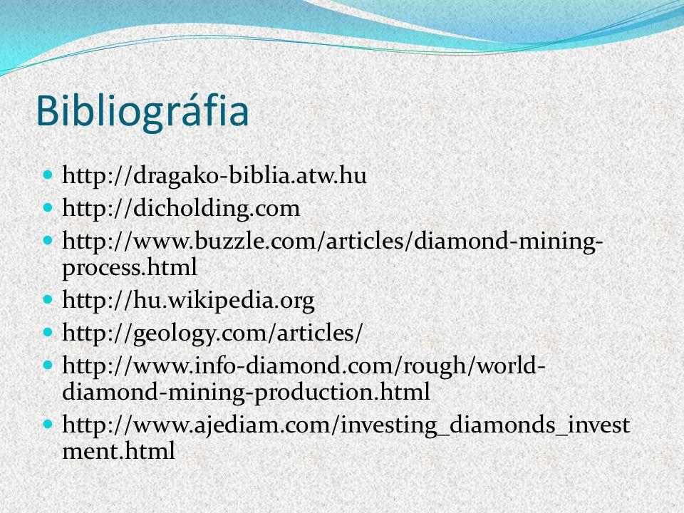Bibliográfia http://dragako-biblia.atw.hu http://dicholding.com http://www.buzzle.com/articles/diamond-mining- process.html http://hu.wikipedia.org ht