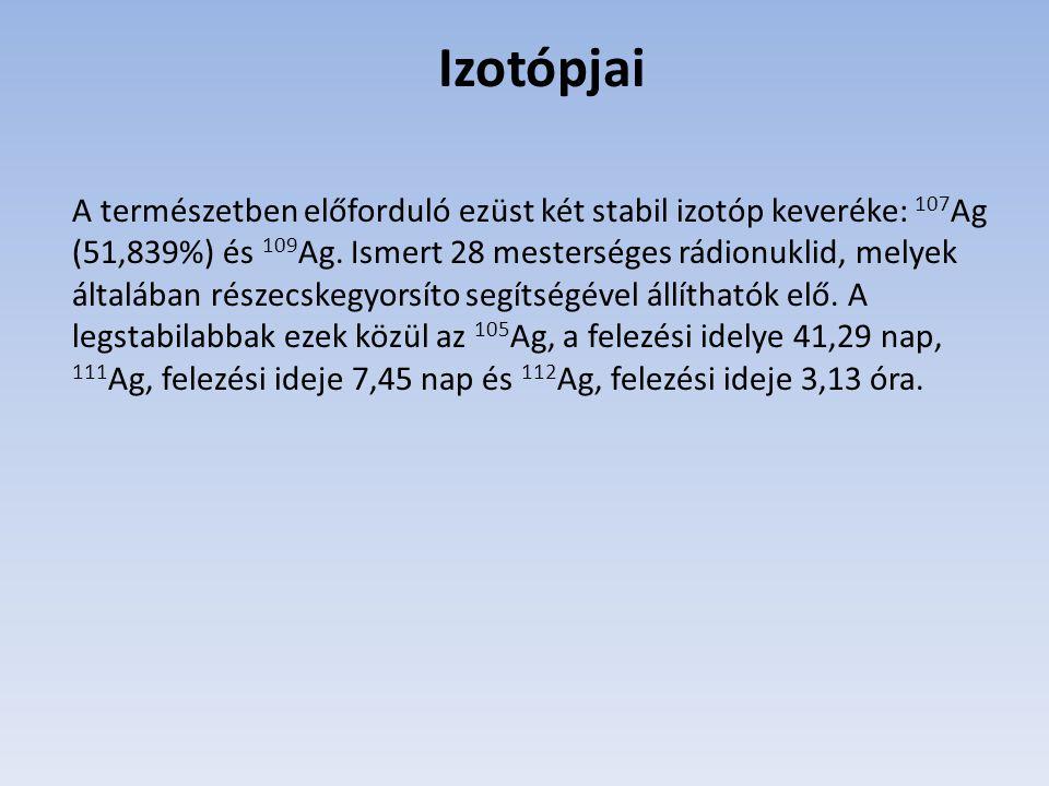 Izotópjai A természetben előforduló ezüst két stabil izotóp keveréke: 107 Ag (51,839%) és 109 Ag.