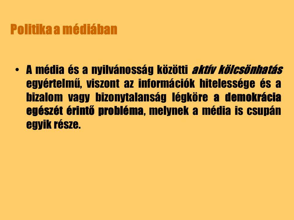 Politika a médiában A média és a nyilvánosság közötti aktív kölcsönhatás egyértelmű, viszont az információk hitelessége és a bizalom vagy bizonytalans