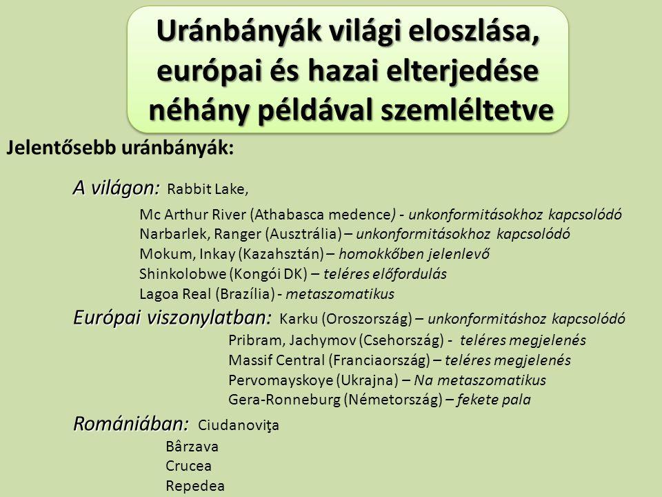 Uránbányák világi eloszlása, európai és hazai elterjedése néhány példával szemléltetve néhány példával szemléltetve Uránbányák világi eloszlása, európ