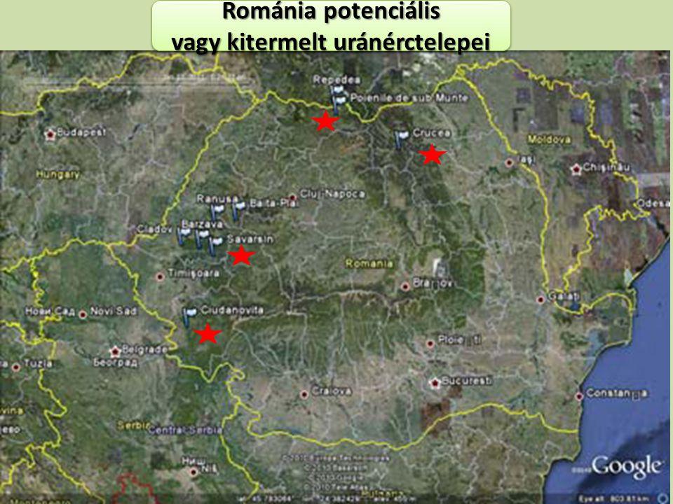 Románia potenciális vagy kitermelt uránérctelepei Románia potenciális vagy kitermelt uránérctelepei