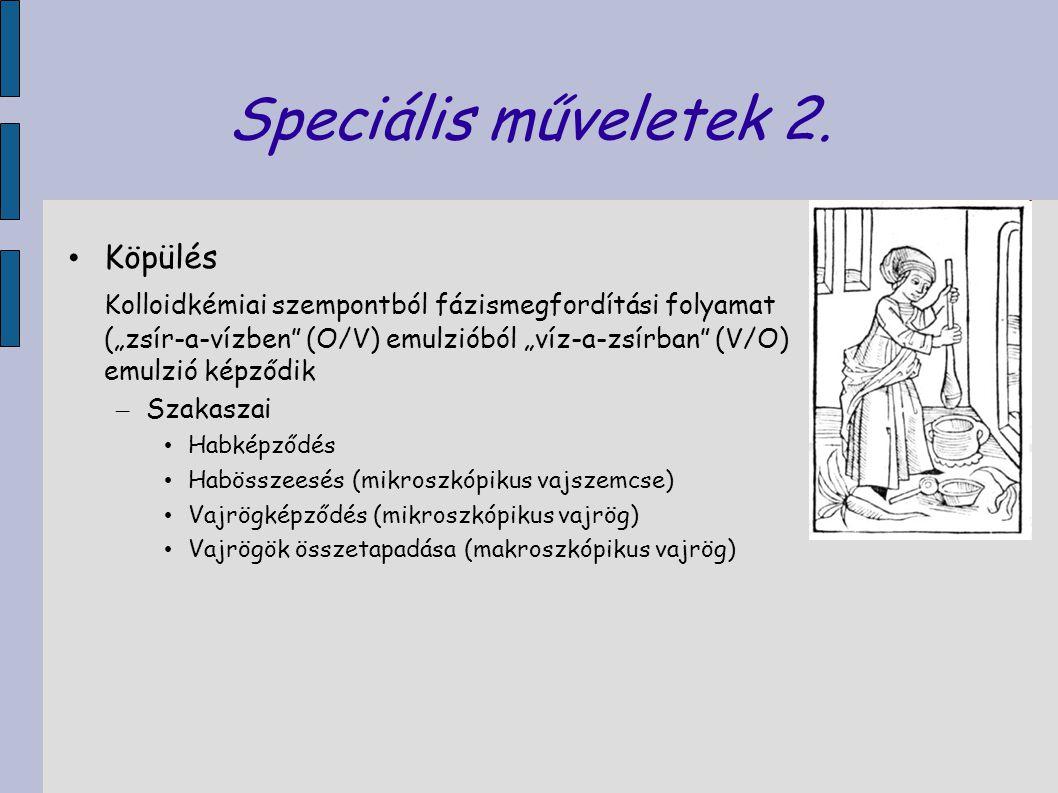 """Speciális műveletek 2. Köpülés Kolloidkémiai szempontból fázismegfordítási folyamat (""""zsír-a-vízben"""" (O/V) emulzióból """"víz-a-zsírban"""" (V/O) emulzió ké"""