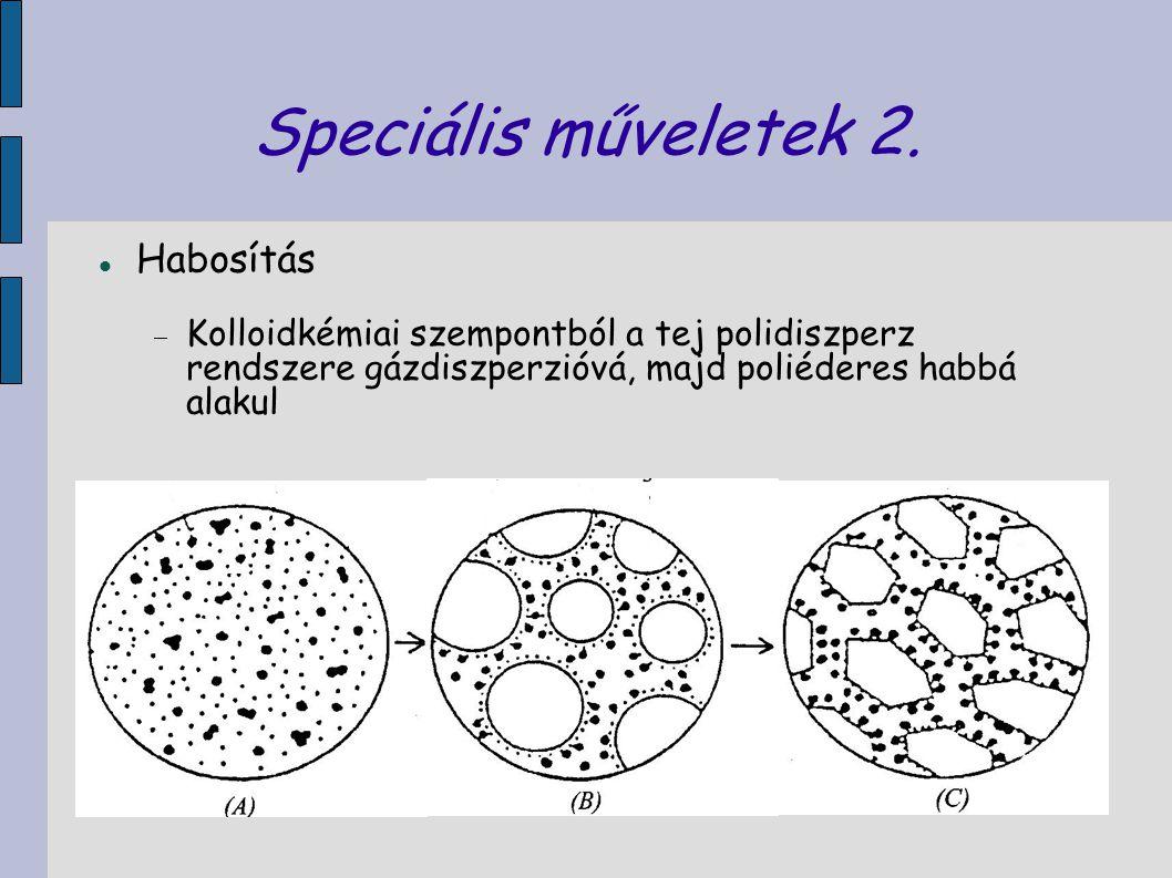 Speciális műveletek 2. Habosítás  Kolloidkémiai szempontból a tej polidiszperz rendszere gázdiszperzióvá, majd poliéderes habbá alakul