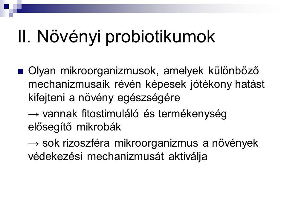 II. Növényi probiotikumok Olyan mikroorganizmusok, amelyek különböző mechanizmusaik révén képesek jótékony hatást kifejteni a növény egészségére → van