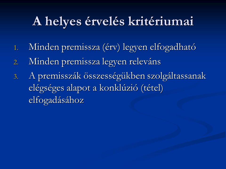 A helyes érvelés kritériumai 1. Minden premissza (érv) legyen elfogadható 2. Minden premissza legyen releváns 3. A premisszák összességükben szolgálta