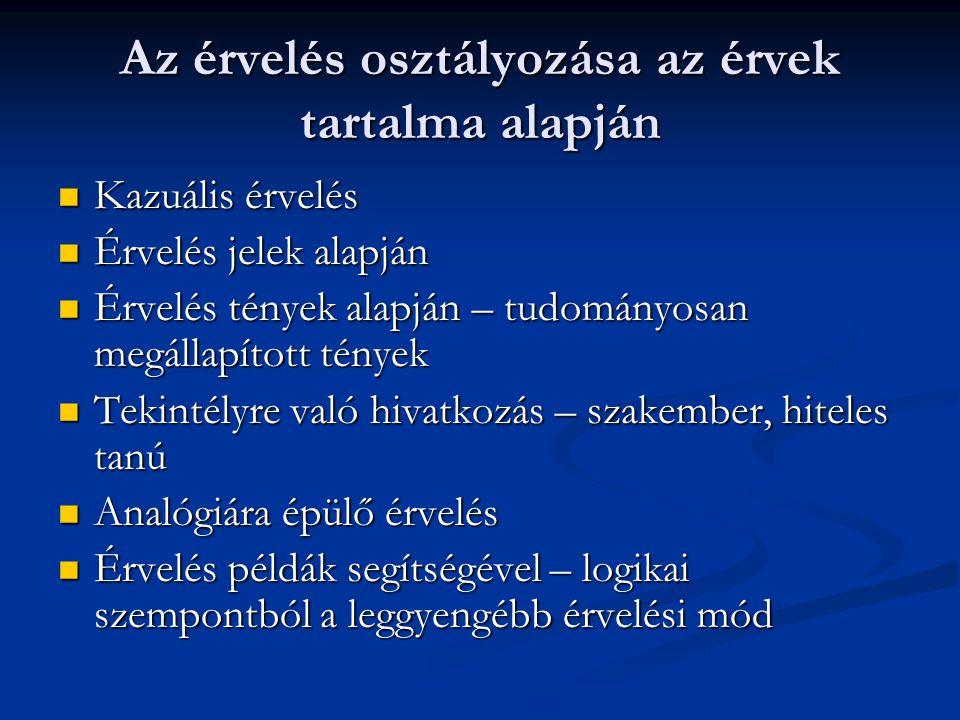 Az érvelés osztályozása az érvek tartalma alapján Kazuális érvelés Kazuális érvelés Érvelés jelek alapján Érvelés jelek alapján Érvelés tények alapján