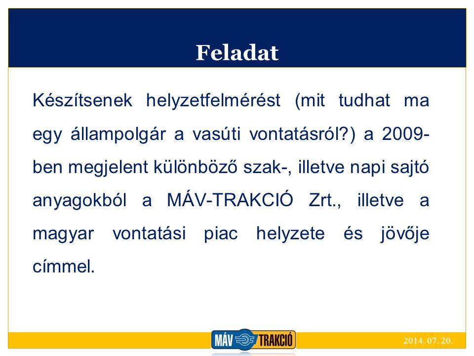 Feladat Készítsenek helyzetfelmérést (mit tudhat ma egy állampolgár a vasúti vontatásról?) a 2009- ben megjelent különböző szak-, illetve napi sajtó anyagokból a MÁV-TRAKCIÓ Zrt., illetve a magyar vontatási piac helyzete és jövője címmel.