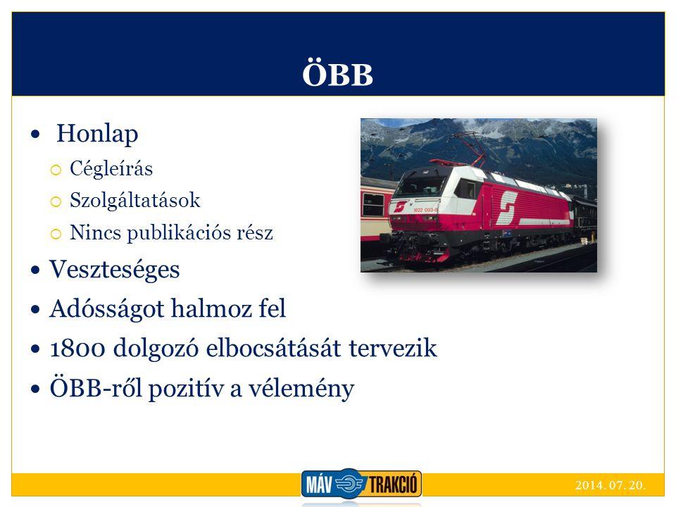 ÖBB Honlap  Cégleírás  Szolgáltatások  Nincs publikációs rész Veszteséges Adósságot halmoz fel 1800 dolgozó elbocsátását tervezik ÖBB-ről pozitív a vélemény 2014.