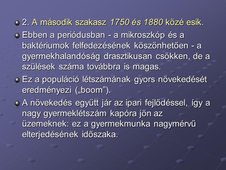 2. A második szakasz 1750 és 1880 közé esik. Ebben a periódusban - a mikroszkóp és a baktériumok felfedezésének köszönhetően - a gyermekhalandóság dra
