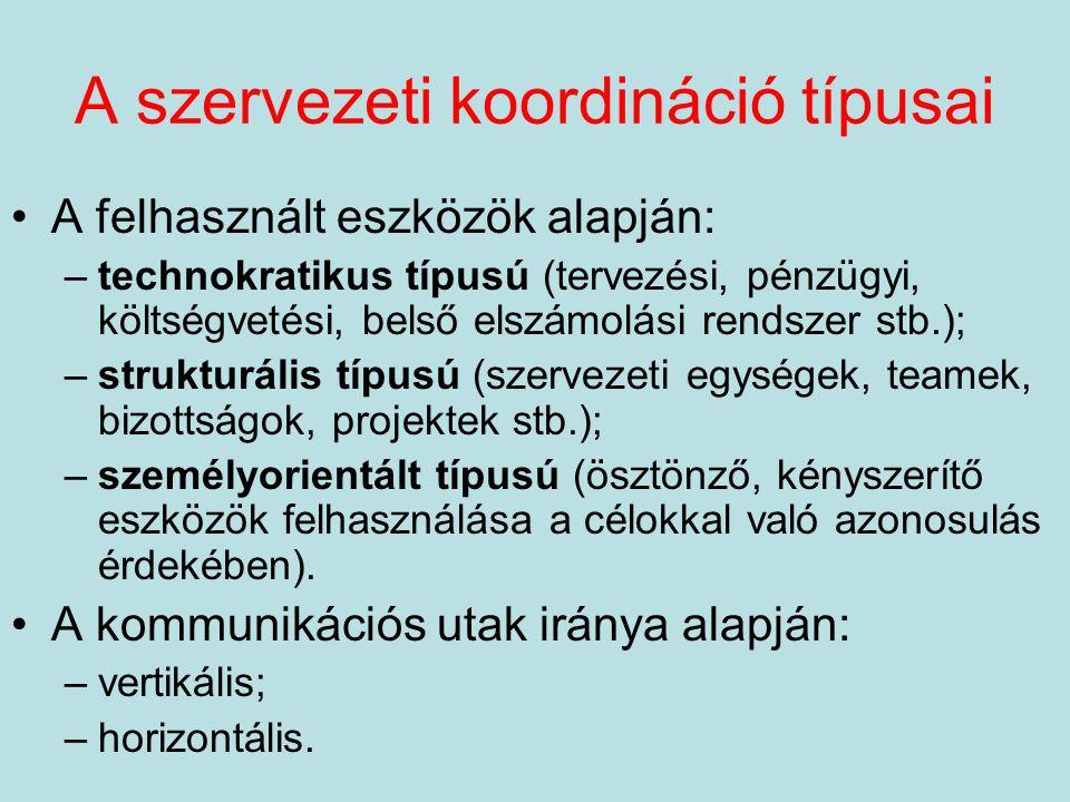 A szervezeti koordináció típusai A felhasznált eszközök alapján: –technokratikus típusú (tervezési, pénzügyi, költségvetési, belső elszámolási rendsze
