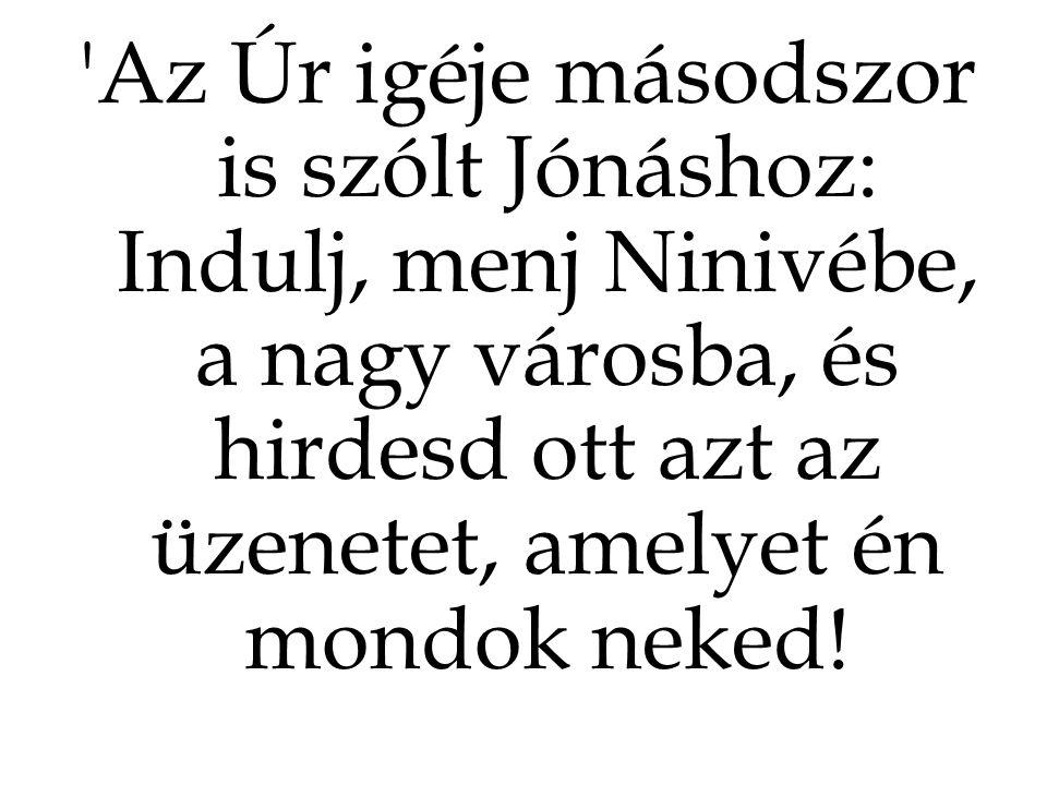 Az Úr igéje másodszor is szólt Jónáshoz: Indulj, menj Ninivébe, a nagy városba, és hirdesd ott azt az üzenetet, amelyet én mondok neked!