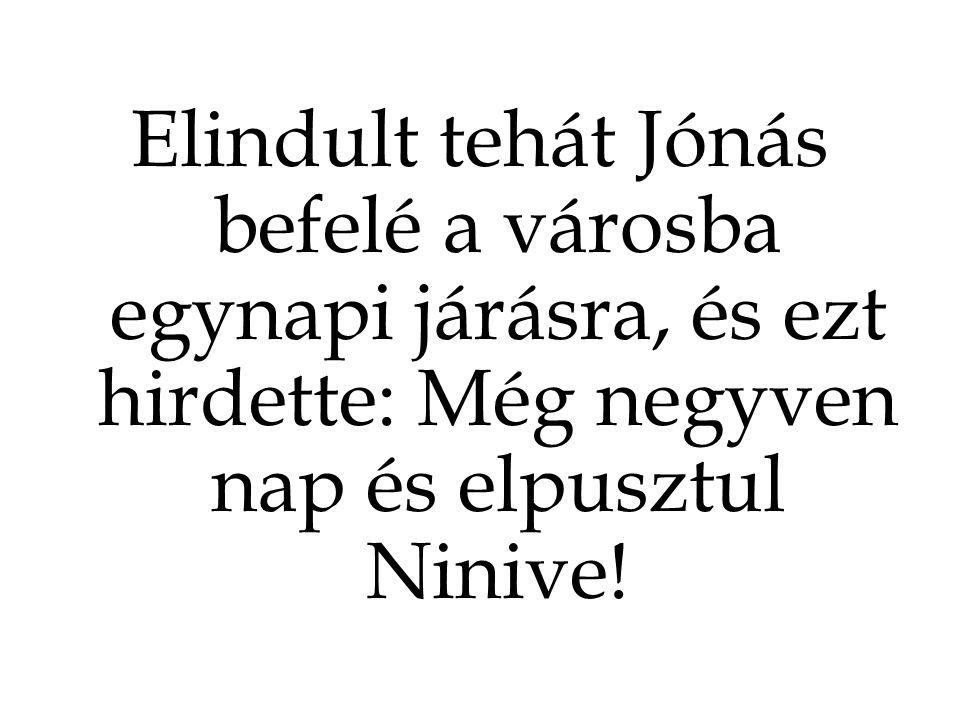 Elindult tehát Jónás befelé a városba egynapi járásra, és ezt hirdette: Még negyven nap és elpusztul Ninive!