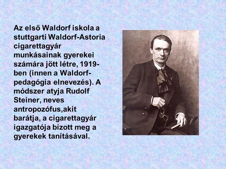 Az első Waldorf iskola a stuttgarti Waldorf-Astoria cigarettagyár munkásainak gyerekei számára jött létre, 1919- ben (innen a Waldorf- pedagógia elnevezés).