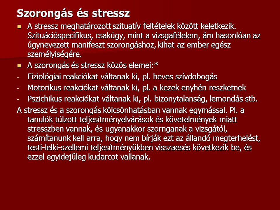 Szorongás és stressz A stressz meghatározott szituatív feltételek között keletkezik.
