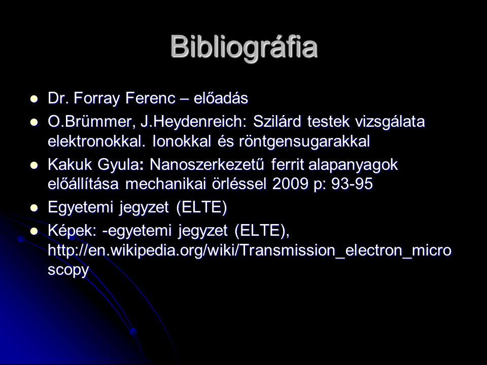 Bibliográfia Dr. Forray Ferenc – előadás Dr. Forray Ferenc – előadás O.Brümmer, J.Heydenreich: Szilárd testek vizsgálata elektronokkal. Ionokkal és rö