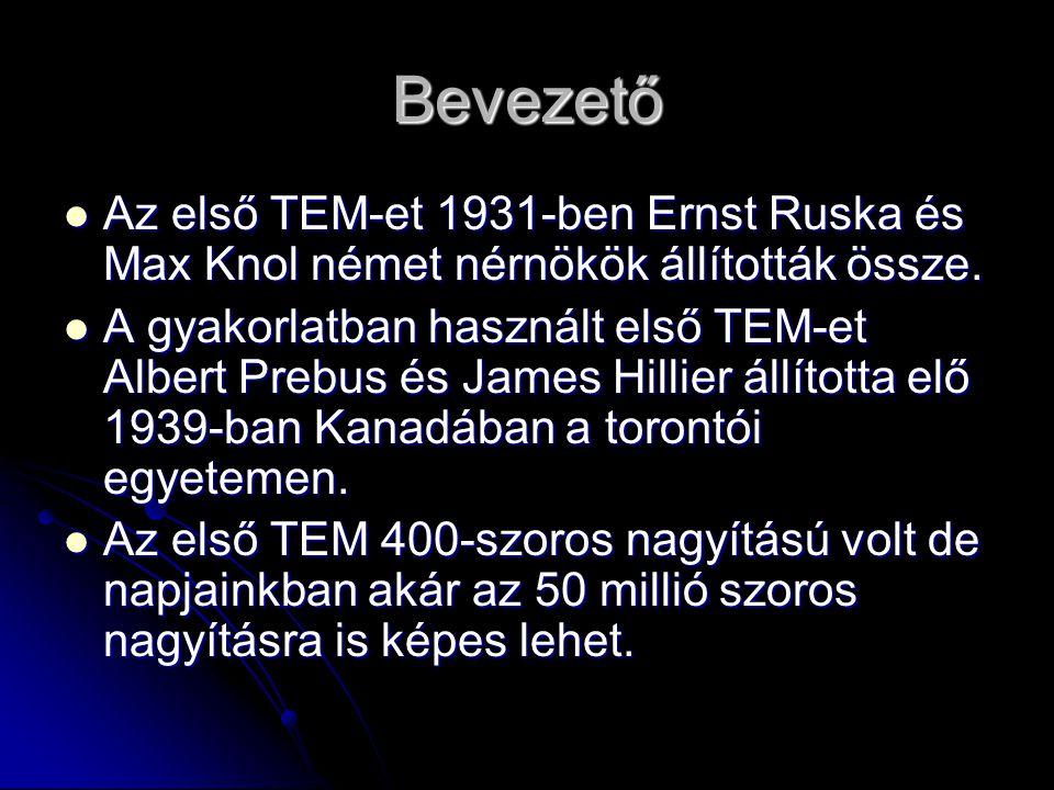 Bevezető Az első TEM-et 1931-ben Ernst Ruska és Max Knol német nérnökök állították össze. Az első TEM-et 1931-ben Ernst Ruska és Max Knol német nérnök