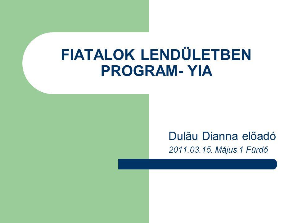 FIATALOK LENDÜLETBEN PROGRAM- YIA Dulău Dianna előadó 2011.03.15. Május 1 Fürdő