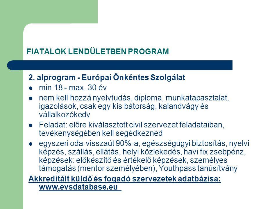 FIATALOK LENDÜLETBEN PROGRAM 2. alprogram - Európai Önkéntes Szolgálat min.18 - max.