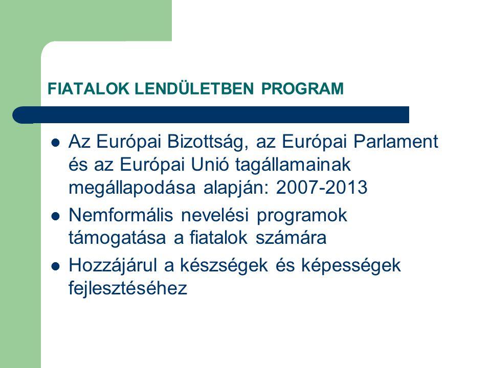 FIATALOK LENDÜLETBEN PROGRAM Az Európai Bizottság, az Európai Parlament és az Európai Unió tagállamainak megállapodása alapján: 2007-2013 Nemformális nevelési programok támogatása a fiatalok számára Hozzájárul a készségek és képességek fejlesztéséhez