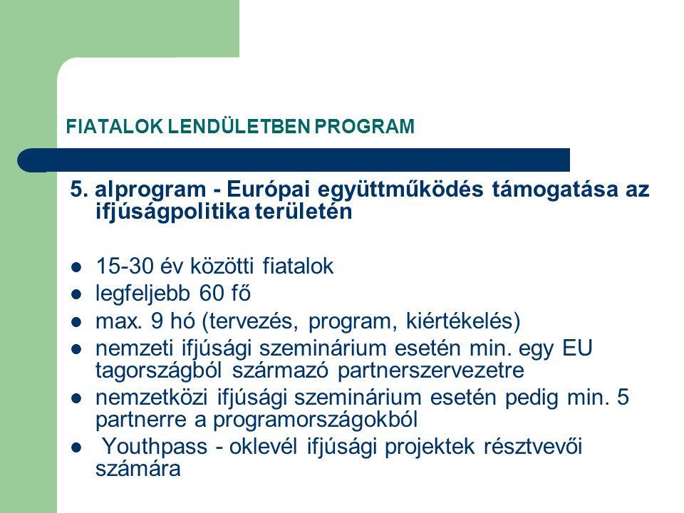FIATALOK LENDÜLETBEN PROGRAM 5.