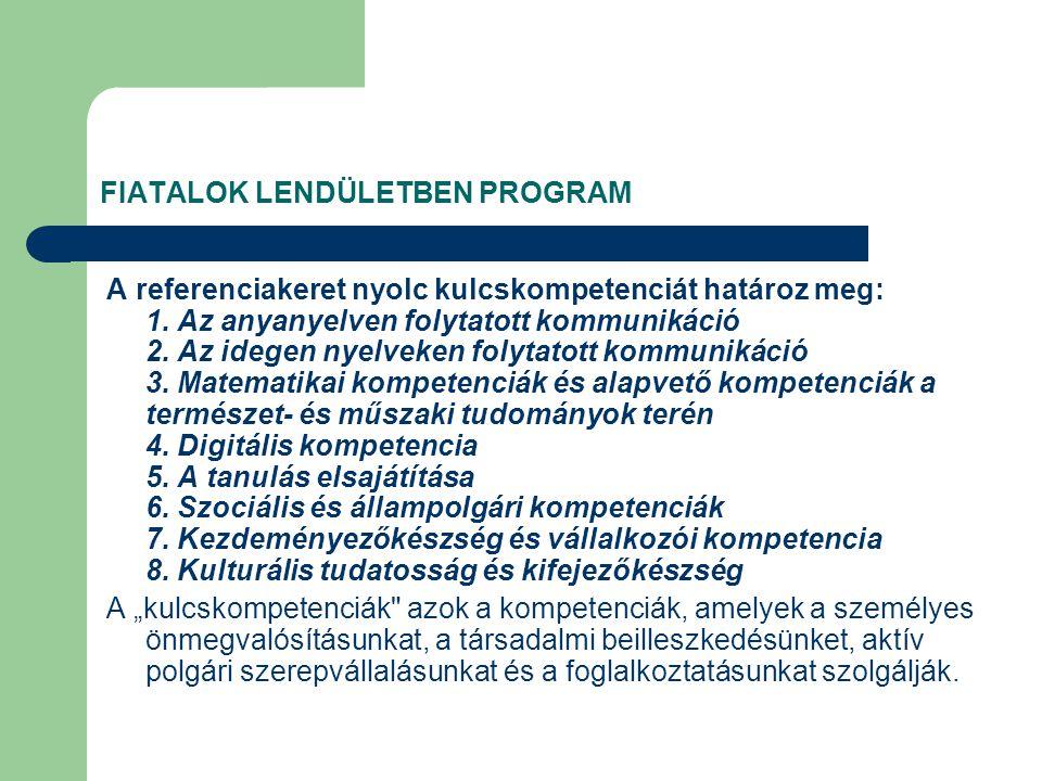 FIATALOK LENDÜLETBEN PROGRAM A referenciakeret nyolc kulcskompetenciát határoz meg: 1.