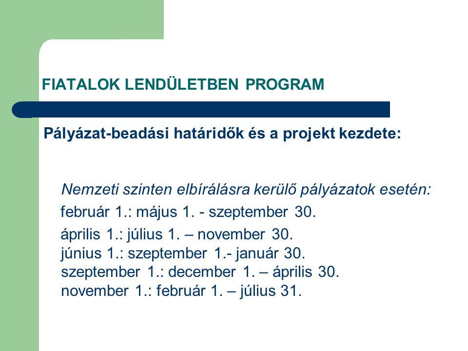 FIATALOK LENDÜLETBEN PROGRAM Pályázat-beadási határidők és a projekt kezdete: Nemzeti szinten elbírálásra kerülő pályázatok esetén: február 1.: május 1.