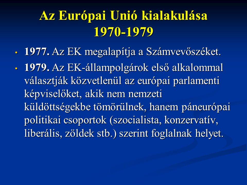 Az Európai Unió kialakulása 1970-1979 1977. Az EK megalapítja a Számvevőszéket. 1977. Az EK megalapítja a Számvevőszéket. 1979. Az EK-állampolgárok el