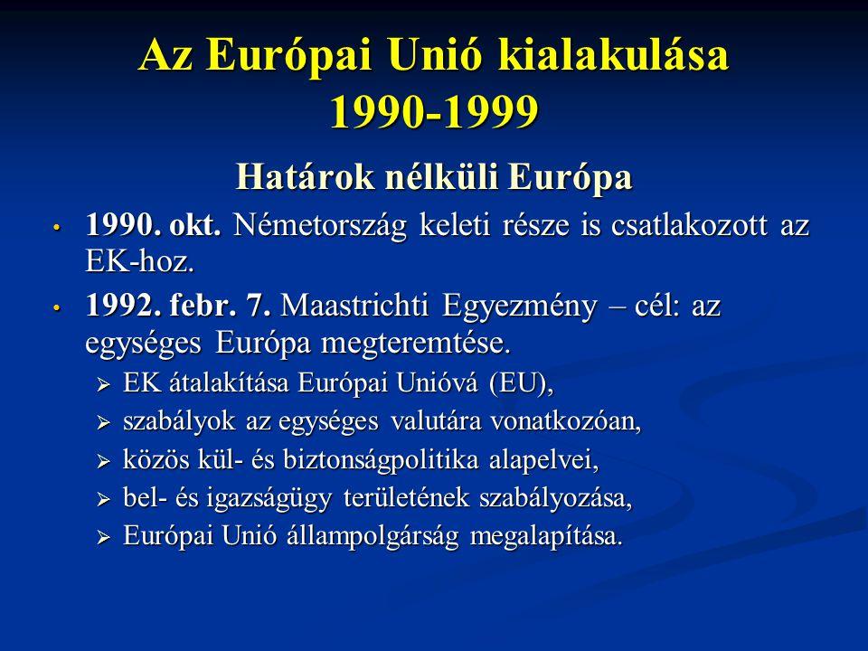 Az Európai Unió kialakulása 1990-1999 Határok nélküli Európa 1990. okt. Németország keleti része is csatlakozott az EK-hoz. 1990. okt. Németország kel