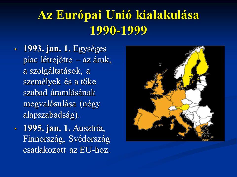 Az Európai Unió kialakulása 1990-1999 1993. jan. 1. Egységes piac létrejötte – az áruk, a szolgáltatások, a személyek és a tőke szabad áramlásának meg