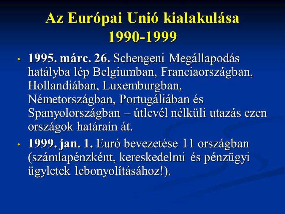 Az Európai Unió kialakulása 1990-1999 1995. márc. 26. Schengeni Megállapodás hatályba lép Belgiumban, Franciaországban, Hollandiában, Luxemburgban, Né