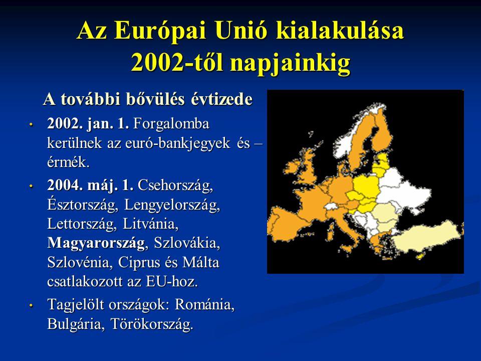 Az Európai Unió kialakulása 2002-től napjainkig A további bővülés évtizede 2002. jan. 1. Forgalomba kerülnek az euró-bankjegyek és – érmék. 2002. jan.