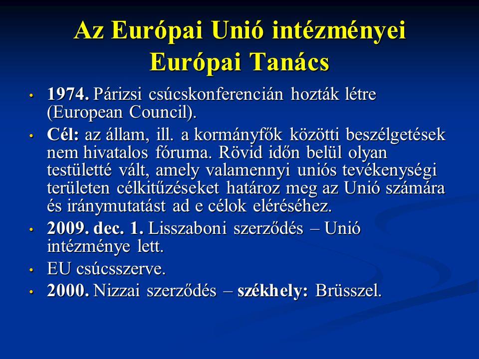 Az Európai Unió intézményei Európai Tanács 1974. Párizsi csúcskonferencián hozták létre (European Council). 1974. Párizsi csúcskonferencián hozták lét