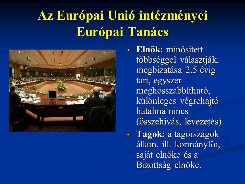 Az Európai Unió intézményei Európai Tanács Elnök: minősített többséggel választják, megbízatása 2,5 évig tart, egyszer meghosszabbítható, különleges végrehajtó hatalma nincs (összehívás, levezetés).