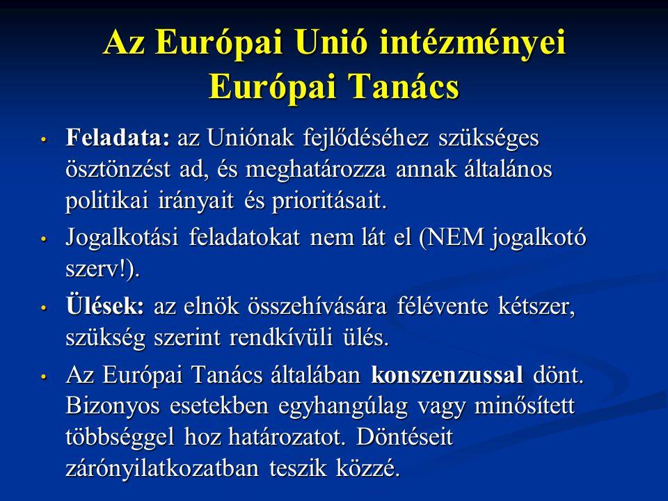 Az Európai Unió intézményei Európai Tanács Feladata: az Uniónak fejlődéséhez szükséges ösztönzést ad, és meghatározza annak általános politikai irányait és prioritásait.