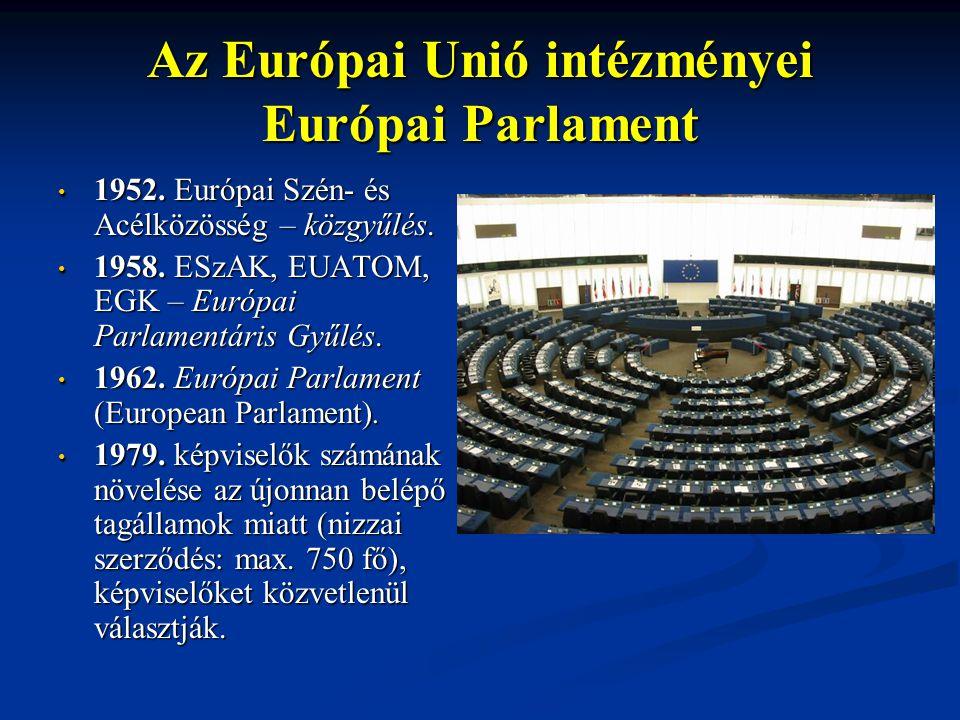 Az Európai Unió intézményei Európai Parlament 1952.
