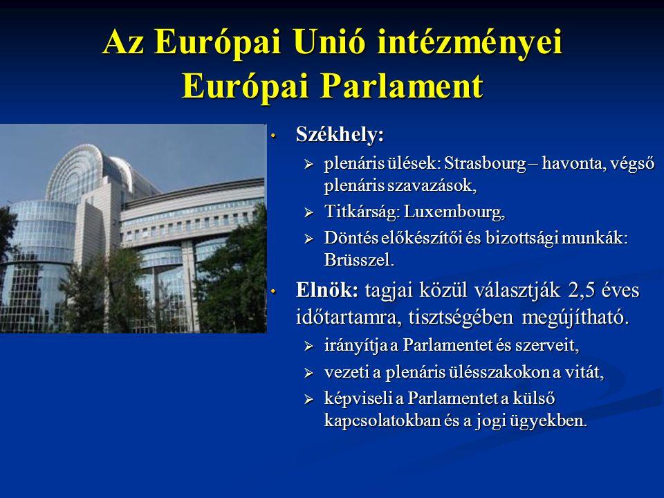 Az Európai Unió intézményei Európai Parlament Székhely:  plenáris ülések: Strasbourg – havonta, végső plenáris szavazások,  Titkárság: Luxembourg, 