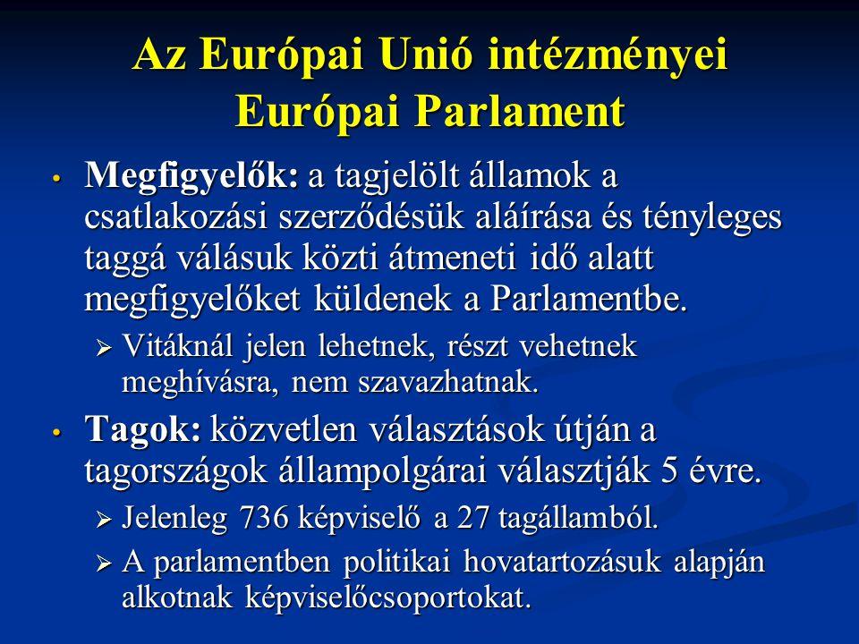 Az Európai Unió intézményei Európai Parlament Megfigyelők: a tagjelölt államok a csatlakozási szerződésük aláírása és tényleges taggá válásuk közti át