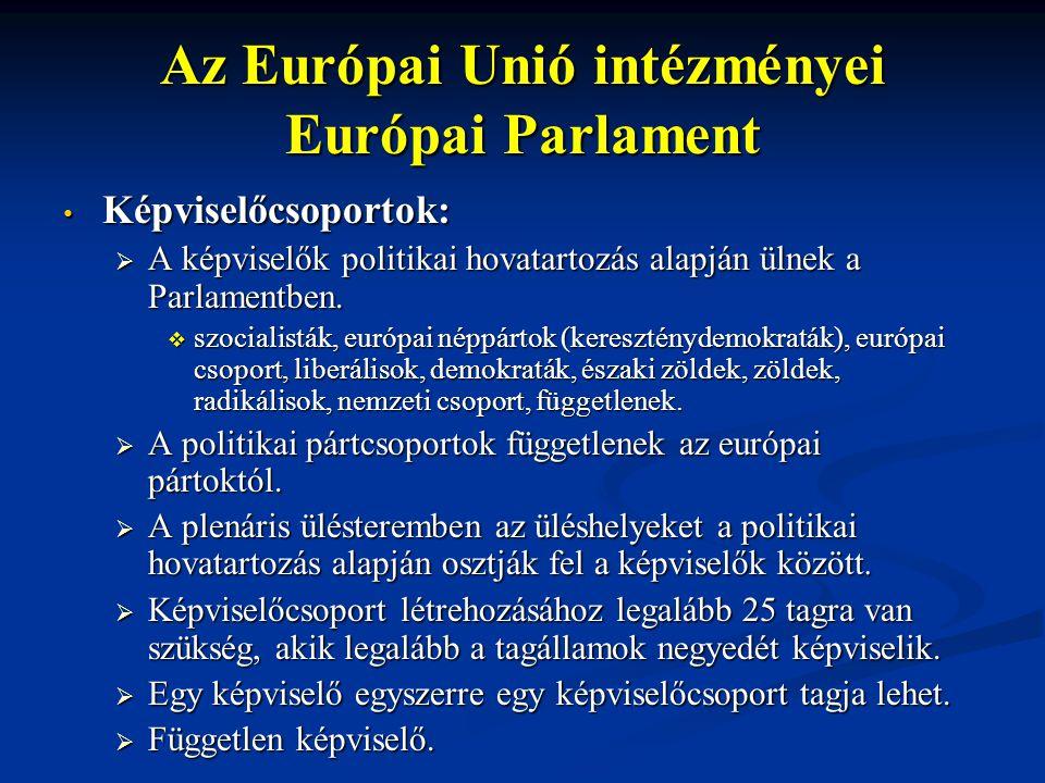Az Európai Unió intézményei Európai Parlament Képviselőcsoportok: Képviselőcsoportok:  A képviselők politikai hovatartozás alapján ülnek a Parlamentben.