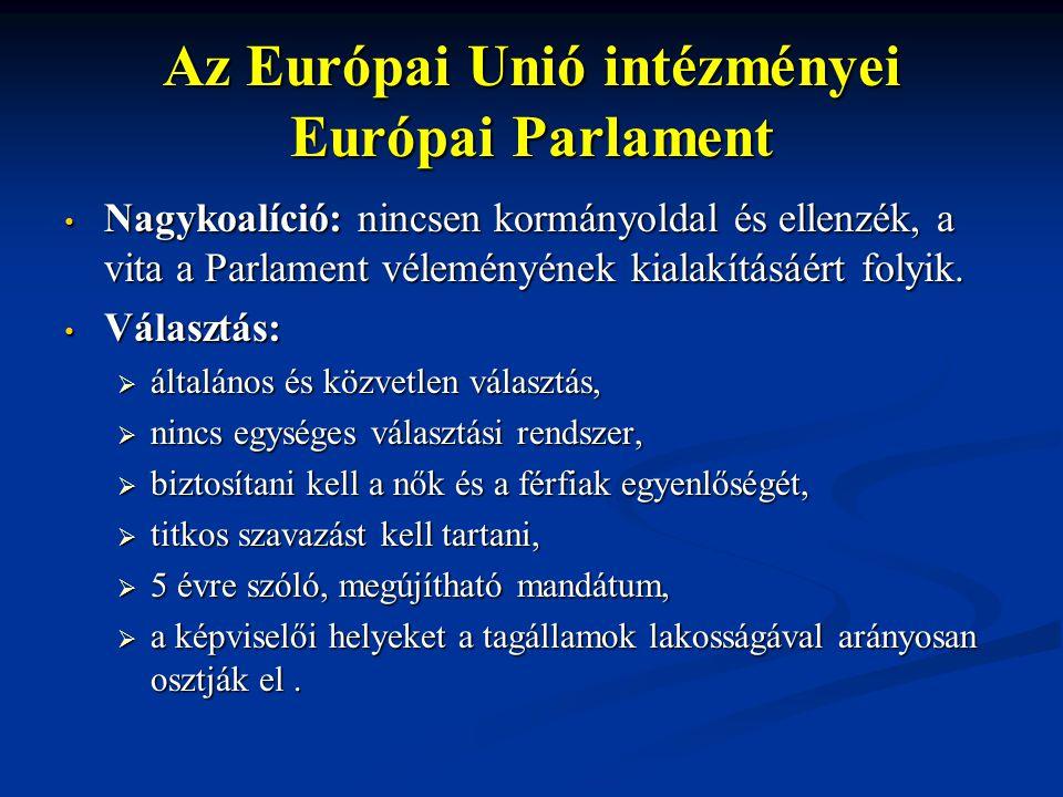 Az Európai Unió intézményei Európai Parlament Nagykoalíció: nincsen kormányoldal és ellenzék, a vita a Parlament véleményének kialakításáért folyik. N