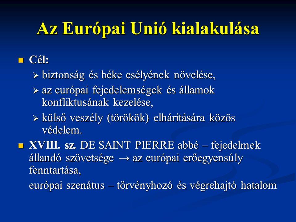 Az Európai Unió kialakulása Cél: Cél:  biztonság és béke esélyének növelése,  az európai fejedelemségek és államok konfliktusának kezelése,  külső veszély (törökök) elhárítására közös védelem.