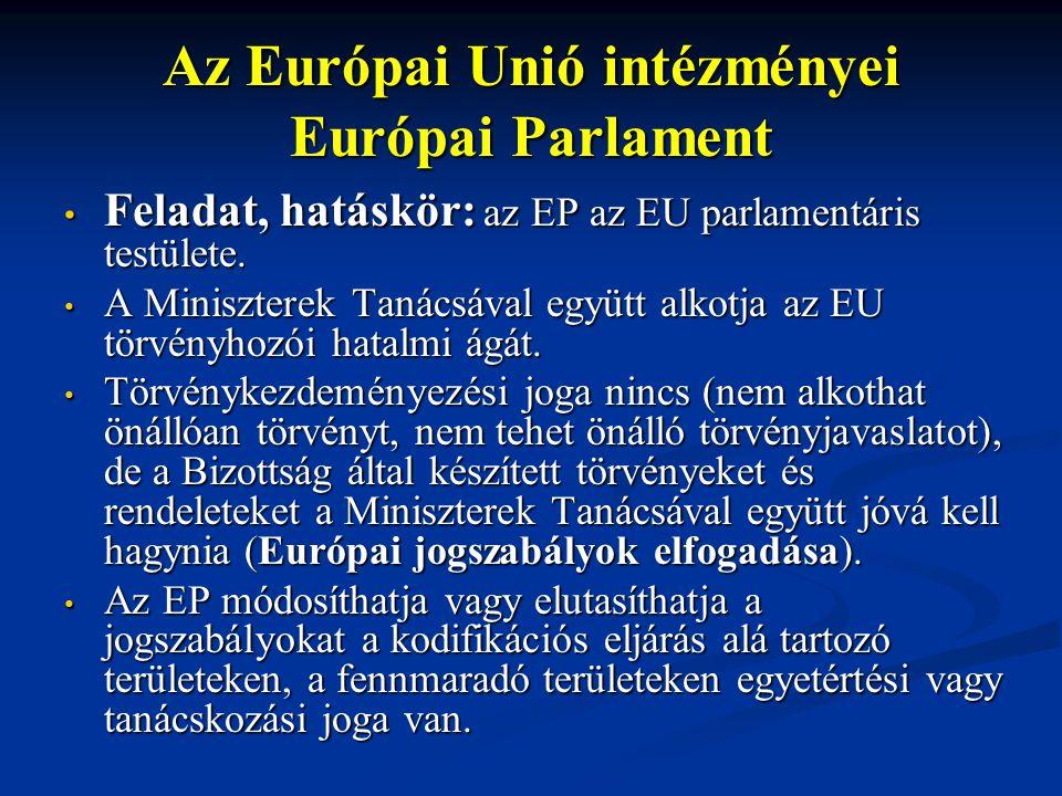 Az Európai Unió intézményei Európai Parlament Feladat, hatáskör: az EP az EU parlamentáris testülete.