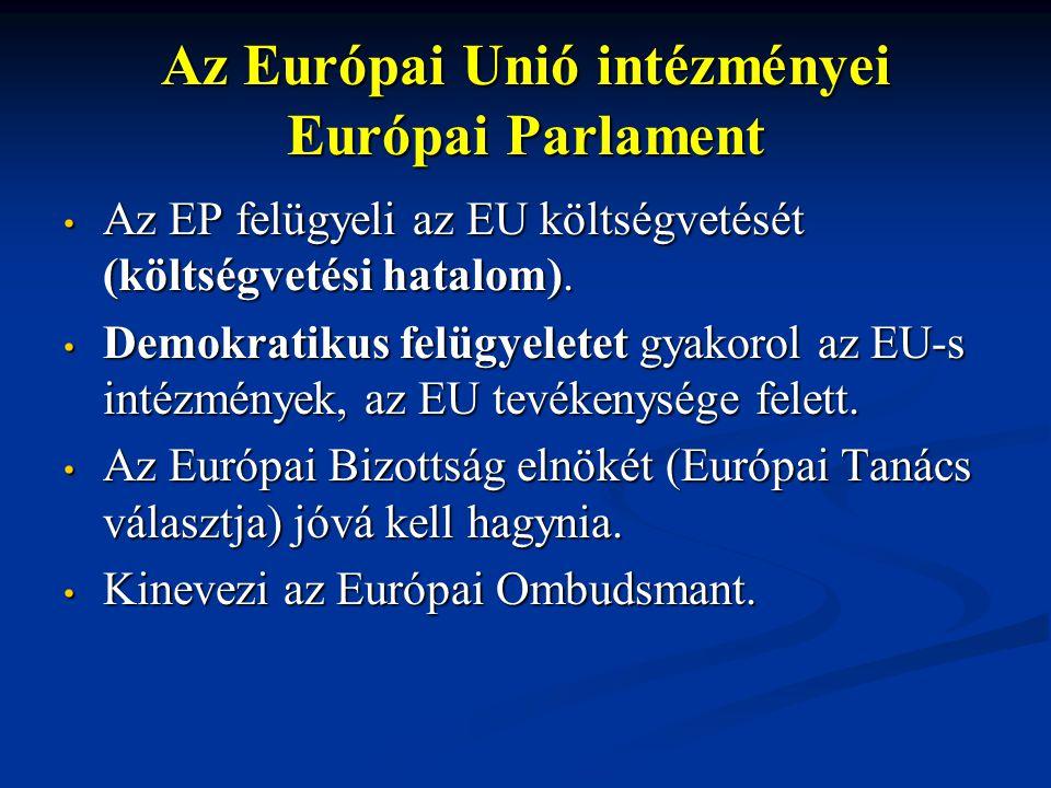 Az Európai Unió intézményei Európai Parlament Az EP felügyeli az EU költségvetését (költségvetési hatalom). Az EP felügyeli az EU költségvetését (költ