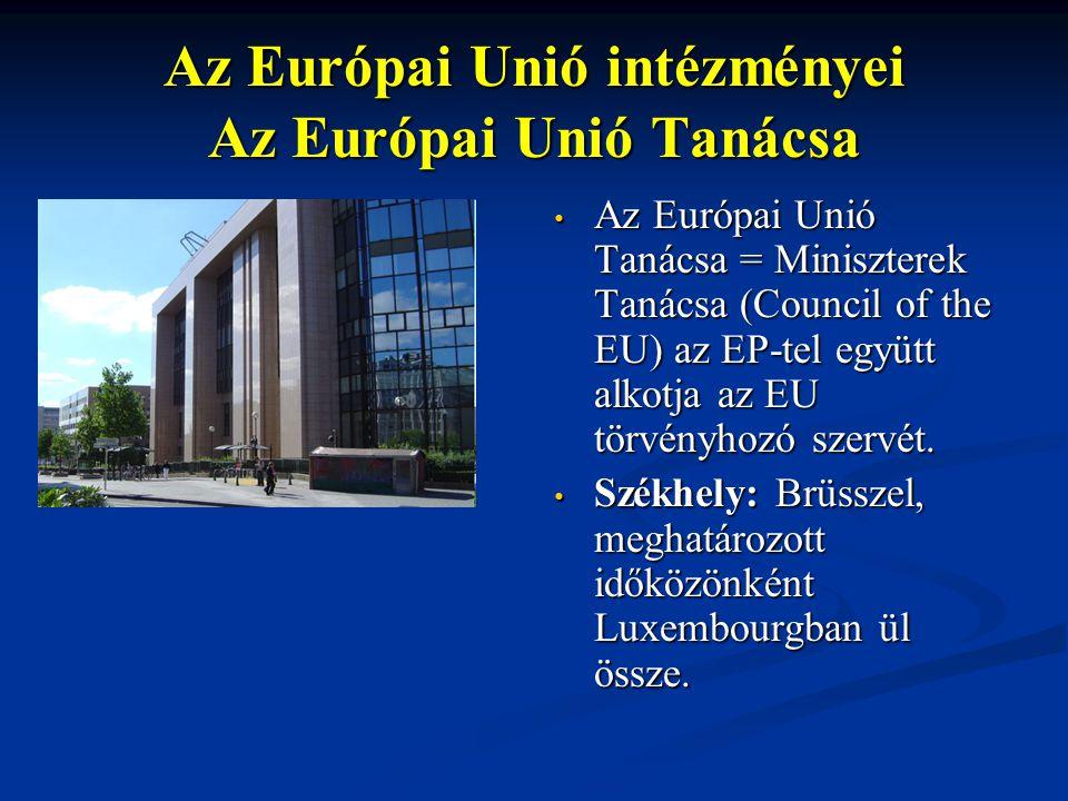 Az Európai Unió intézményei Az Európai Unió Tanácsa Az Európai Unió Tanácsa = Miniszterek Tanácsa (Council of the EU) az EP-tel együtt alkotja az EU t