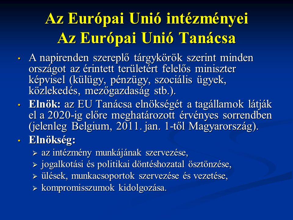 Az Európai Unió intézményei Az Európai Unió Tanácsa A napirenden szereplő tárgykörök szerint minden országot az érintett területért felelős miniszter képvisel (külügy, pénzügy, szociális ügyek, közlekedés, mezőgazdaság stb.).