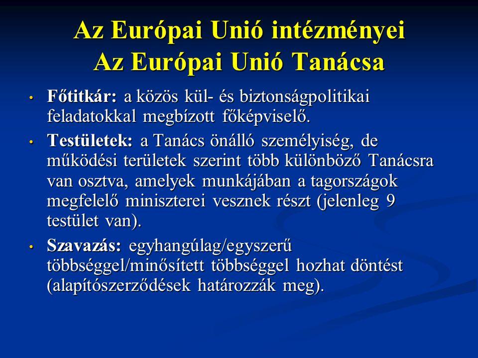Az Európai Unió intézményei Az Európai Unió Tanácsa Főtitkár: a közös kül- és biztonságpolitikai feladatokkal megbízott főképviselő. Főtitkár: a közös