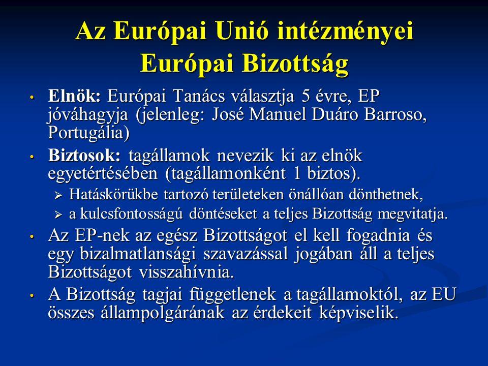 Elnök: Európai Tanács választja 5 évre, EP jóváhagyja (jelenleg: José Manuel Duáro Barroso, Portugália) Elnök: Európai Tanács választja 5 évre, EP jóváhagyja (jelenleg: José Manuel Duáro Barroso, Portugália) Biztosok: tagállamok nevezik ki az elnök egyetértésében (tagállamonként 1 biztos).