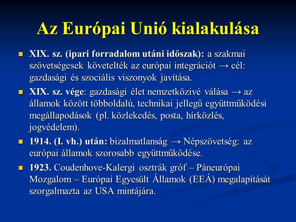 Az Európai Unió kialakulása XIX. sz. (ipari forradalom utáni időszak): a szakmai szövetségesek követelték az európai integrációt → cél: gazdasági és s