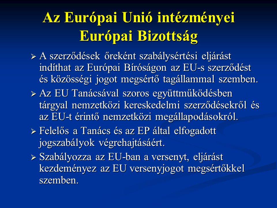 Az Európai Unió intézményei Európai Bizottság  A szerződések őreként szabálysértési eljárást indíthat az Európai Bíróságon az EU-s szerződést és közö
