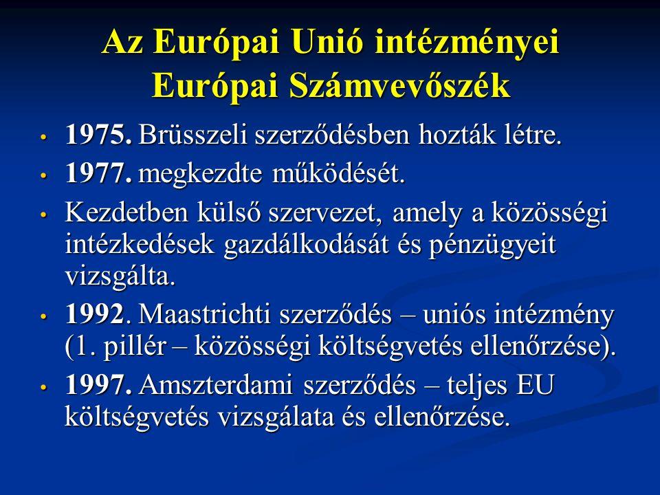 Az Európai Unió intézményei Európai Számvevőszék 1975. Brüsszeli szerződésben hozták létre. 1975. Brüsszeli szerződésben hozták létre. 1977. megkezdte